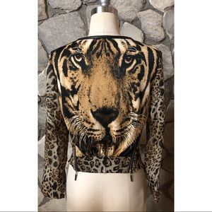 Tiger animal print jacket with faux leather size S